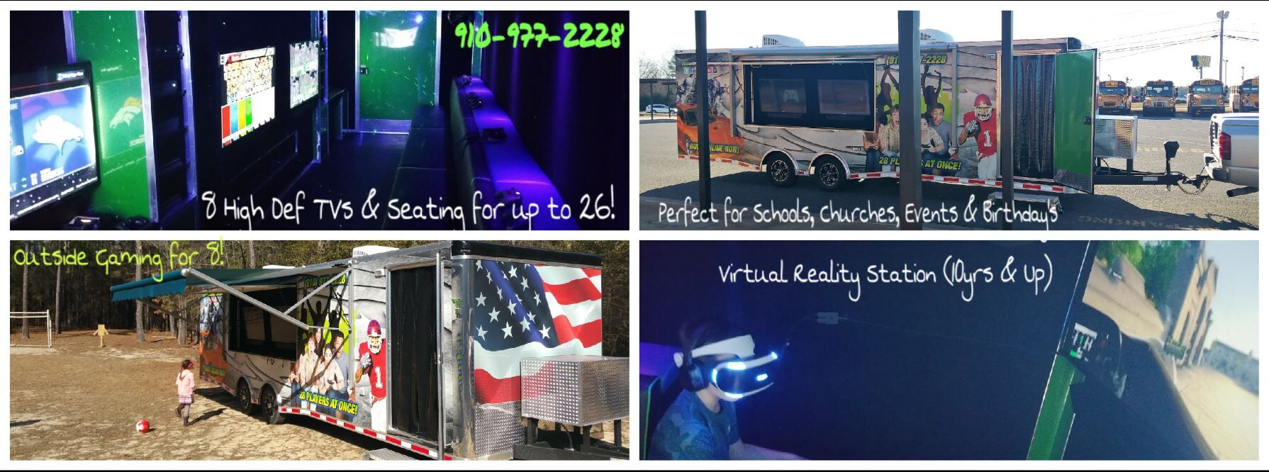 Video game party truck trailer in North Carolina - Fayetteville, Pinehurst, Lee County, Scotland County, Moore County